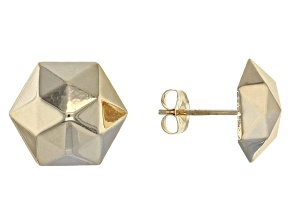 14k Yellow Gold Hollow Hexagon Stud Earrings
