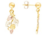 10k Yellow Gold And 12k Rose And Green Gold Dangle Leaf Earrings