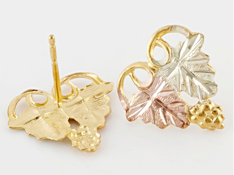 10k Yellow Gold And 12k Rose And Green Gold Heart Shaped Leaf Earrings