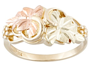 10k Yellow Gold And 12k Rose And Green Gold Leaves Ring