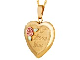 14k Yellow Gold And 12k Rose And Green Gold Hollow Heart Locket Pendant