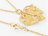 10k Yellow Gold And 12k Rose And Green Gold Heart Pendant With Chain