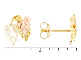 10k Yellow Gold And 12k Rose And Green Gold Leaf Stud Earrings