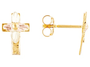 10k Yellow Gold And 12k Rose And Green Gold Cross Leaf Stud Earrings