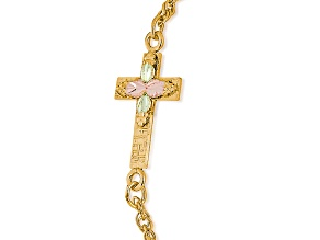 10k Yellow Gold And 12k Rose And Green Gold Cross Leaf Bracelet 7 inch