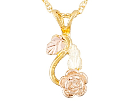 10k Yellow Gold And 12k Rose And Green Gold Floral Pendant With Chain