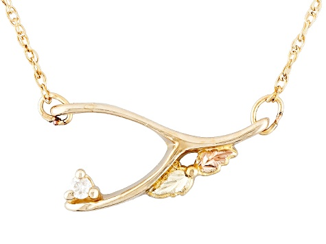 Single Diamond Accent 10k Yellow Gold & 12k Rose & Green Gold Necklace
