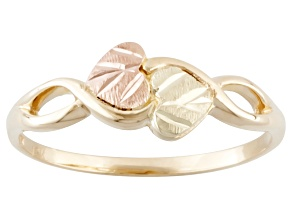 10k Yellow Gold & 12 Rose & Green Gold Heart Leaf Band Ring