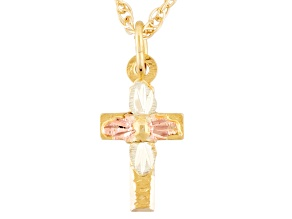 10k Yellow Gold & 12k Rose & Green Gold Cross Pendant With 18 inch Chain