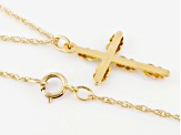 10k Yellow Gold & 12k Rose & Green Gold Cross Pendant With Chain