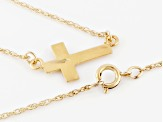 10k Yellow Gold & 12k Rose & Green Gold Sideways Cross Necklace 18 inch