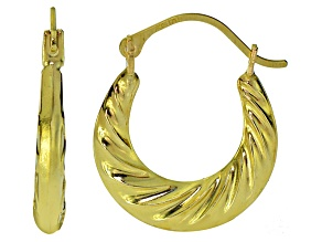 10k Yellow Gold Twisted Tube Hoop Earrings