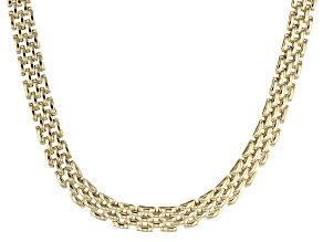 14k Yellow Gold Panther Link Chain Necklace 17 inch 6mm