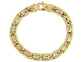 14k Yellow And White Gold Two-Tone Mariner Link Bracelet 8.5 inch 8.5mm