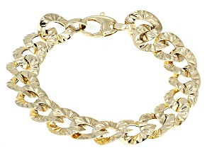 14k Yellow Gold Hollow Curb Link Bracelet 7.75 inch 12mm