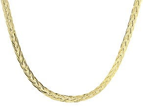 14k Yellow Gold Hollow Herringbone Link Necklace 20 inch
