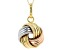 14k Tri-Tone Love Knot Pendant With Chain 18 inch