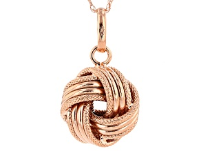 14k Rose Gold Over 14k Yellow Gold Hollow Love Knot Pendant With Chain