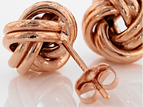 14k Rose Gold Over 14k Yellow Gold Hollow Love Knot Earrings
