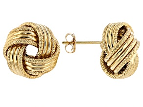 14k Yellow Gold Hollow Love Knot Earrings