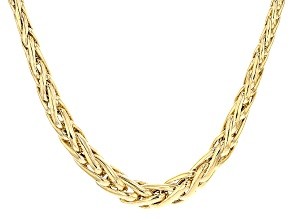 14k Yellow Gold Hollow Wheat Link Necklace 18 inch