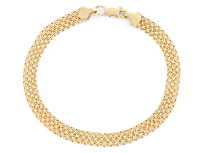 14k Yellow Gold Hollow Bismark Link Bracelet 7.5 inch