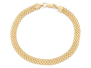 14k Yellow Gold Hollow Bismark Link Bracelet 8 inch