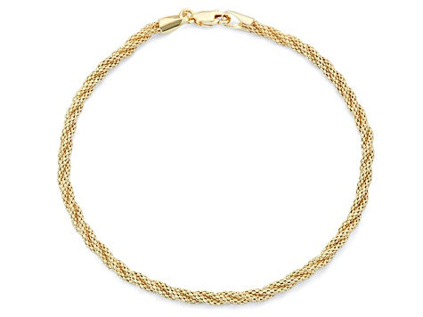14k Yellow Gold Hollow Popcorn Link Bracelet 7.5 inch