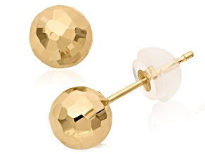 14k Yellow Gold Hollow Ball Stud Earrings