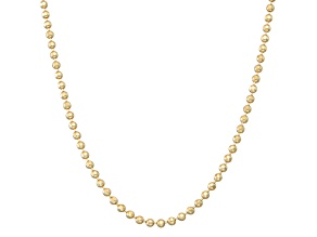 14k Yellow Gold Hollow Bead Link Chain Necklace 18 inch