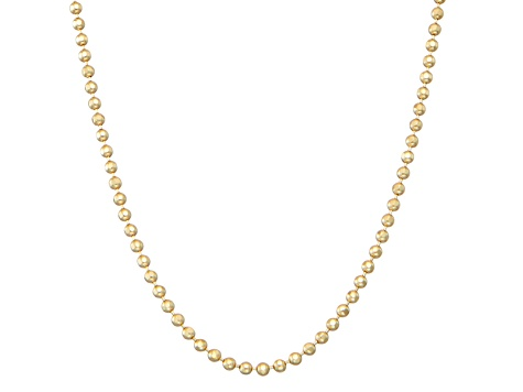 14k yellow gold hollow bead link chain necklace 20 inch