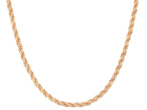 14k Rose Gold Over 14k Yellow Gold Hollow Popcorn Link Necklace 18 inch