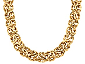 14k Yellow Gold Hollow Byzantine Link Chain Necklace 20 inch 7mm