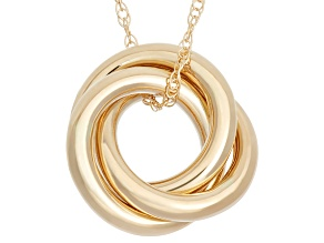 14k Yellow Gold Hollow Love Knot Pendant 18 inch