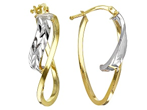 14k Yellow Gold And 14k White Gold Two-Tone Oval Tube Hoop Earrings