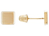 14k Yellow Gold Square Stud Earrings
