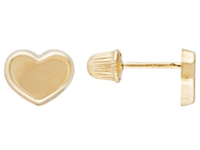 14k Yellow Gold Heart Stud Earrings