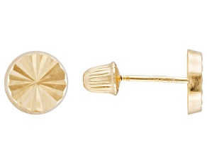 14k Yellow Gold Button Stud Earrings