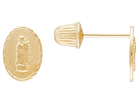 14k Yellow Gold Our Lady Of Guadalupe Stud Earrings