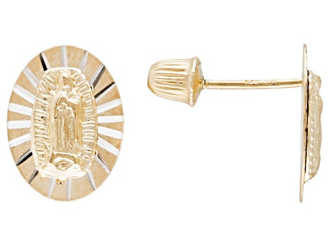 14k Yellow Gold With Rhodium Virgin Mary Stud Earrings
