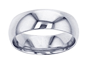 10k White Gold Polished Wedding Band 6mm