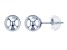 14k White Gold Hollow Ball Stud Earrings 6.0mm