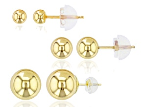 14k Yellow Gold Ball Stud Earring Set Of Three 3mm, 5mm, 7mm