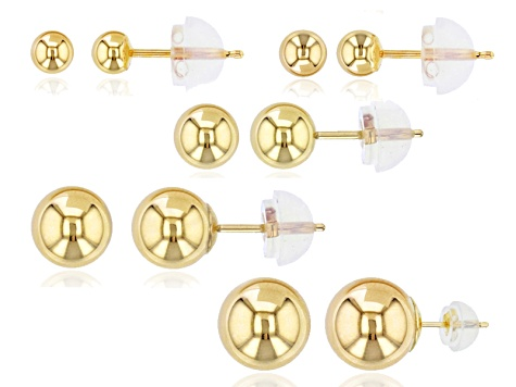 14k Yellow Gold Hollow Ball Stud Earrings 3mm 4mm 5mm 6mm 7mm
