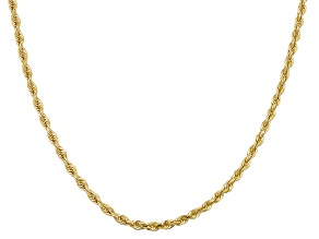 10k Yellow Gold Hollow Rope Chain Necklace 18 inch 2.7 Mm