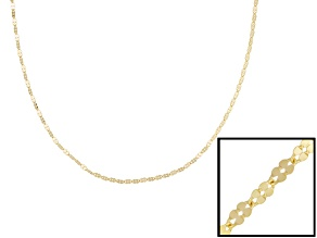 14k Yellow Gold Clover Link Chain Necklace 18 inch