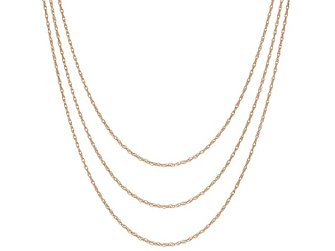 25474c9f28 Womens Rope Pendant Link Chain Necklace Set Of Three 10kt Rose Gold ...