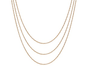 Womens Rope Pendant Link Chain Necklace Set Of Three 10kt Rose Gold