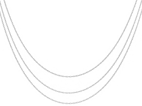 Womens Classic Chain Necklace Set 10kt White Gold