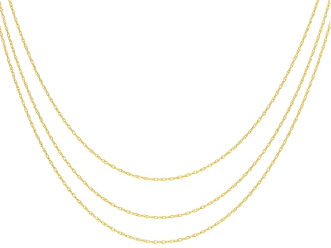 cf53bdafbc6d9 10k Yellow Gold Rope Chain Necklace 18, 20, And 24 Inch Chain Set Of 3